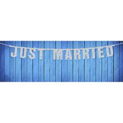 Baner Just Married, srebrny, 16 x 170cm,  40szt.