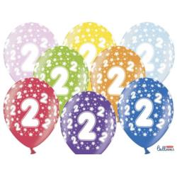 Balony 30cm, 2nd Birthday, Metallic Mix,  6szt.