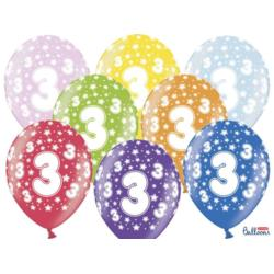 Balony 30cm, 3rd Birthday, Metallic Mix,  6szt.