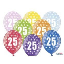 Balony 30cm, 25th Birthday, Metallic Mix , 6szt.