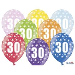 Balony 30cm, 30th Birthday, Metallic Mix , 6szt.