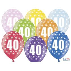 Balony 30cm, 40th Birthday, Metallic Mix , 6szt.