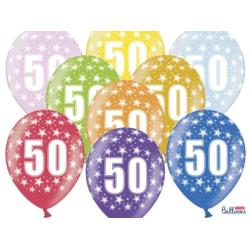 Balony 30cm, 50th Birthday, Metallic Mix , 6szt.