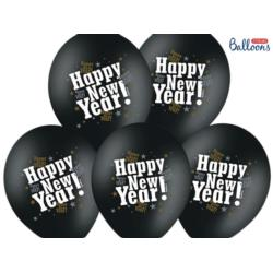 Balony 30cm, Happy New Year, M. Black, 6 szt.