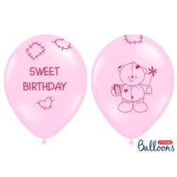 Balony 30cm, Sweet Birthday, Pastel Pink , 6szt.