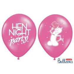 Balony 30cm, Hen night party, P. Hot Pin k, 6szt.