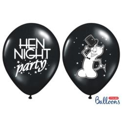 Balony 30cm, Hen night party, Pastel Bla ck, 6szt.