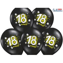 Balony 30cm, 18 & crazy, Pastel Black, 6 szt.