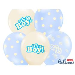 Balony 30cm, It's a Boy, Pastel Mix, 6sz t.