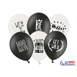 Balony 30cm, Party, P. Black, P.Pure Whi te, 50szt.