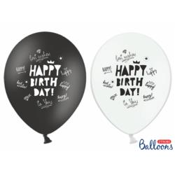 Balony 30cm, Happy Birthday, Pastel mix,  6szt.