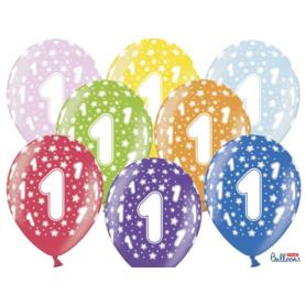 Balony 30cm, 1st Birthday, Metallic Mix,  6szt.