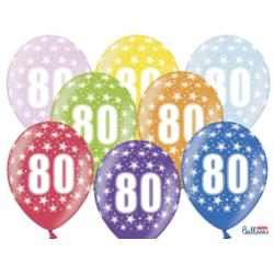 Balony 30cm, 80th Birthday, Metallic Mix , 50szt.