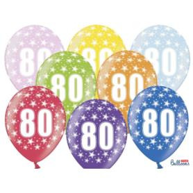 Balony 30cm, 80th Birthday, Metallic Mix , 6szt.