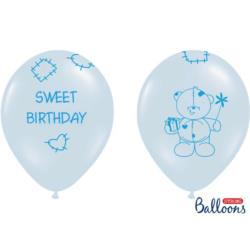 Balony 30cm, Sweet Birthday, Pastel Blue , 6szt.