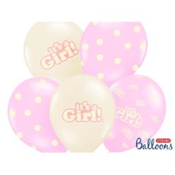 Balony 30cm, It's a Girl, Pastel Mix, 6s zt.