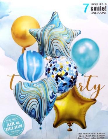 1Zestaw Balonów z Gwiazdkami Niebieski 7szt