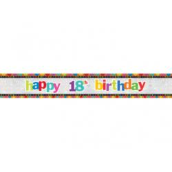 Baner Happy 18th Birthday, 12,6 x 270cm,  1szt.